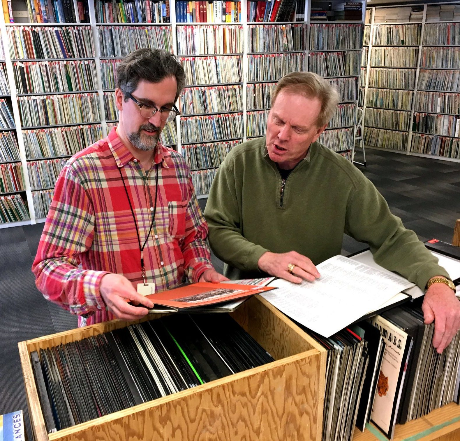 Grant Stovel and Budd Steen in the CKUA Library